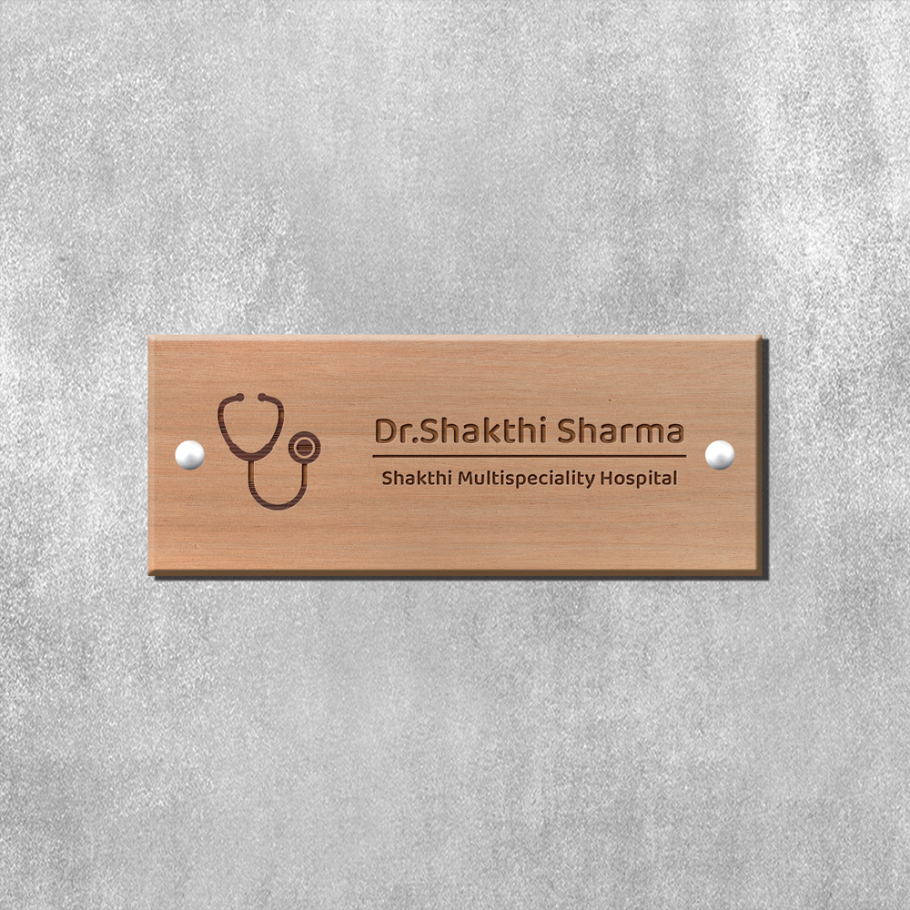 Engraved Wooden Name Plate - Doctor