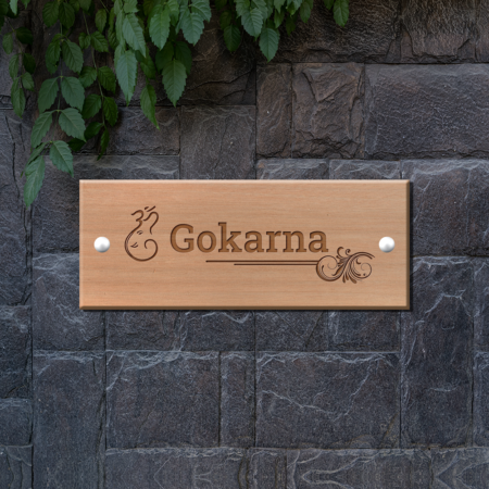 Engraved Wooden Name Plate - Om